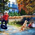 Ruelle Animee Painting by Jacqueline Brochu