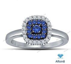1CT Sapphire & Diamond Women's Halo Engagement Ring 14k White Gold 925 Silver #affordablebridaljewelry #WomensHaloEngagementRing