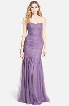 ML Monique Lhuillier Bridesmaids Shirred Tulle Gown | Nordstrom