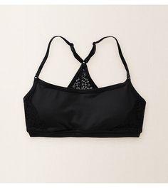 True Black Aerie Lace Back Sports Bra
