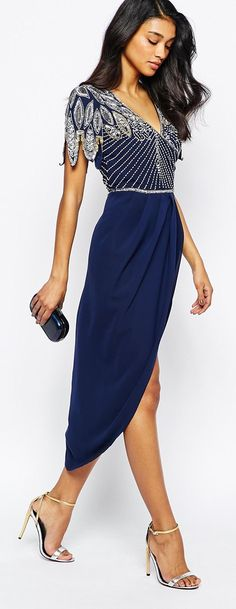 Embellished Midi Dress With Wrap Skirt from ASOS