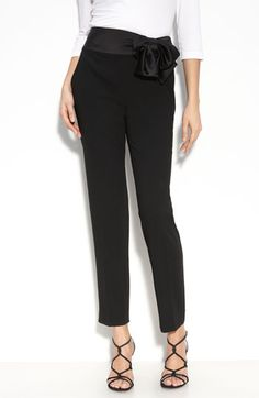 St. John Evening Satin Waist Marocain Crepe Pants