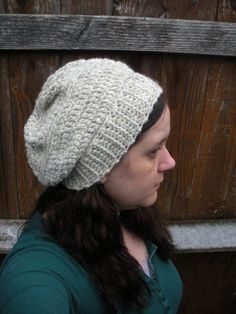Chunky Crochet Slouch Hat in Oatmeal ready to ship by luvbuzz,