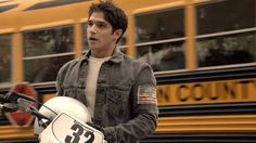 Tyler Posey sports a Denim & Supply Ralph Lauren jean jacket on Teen Wolf