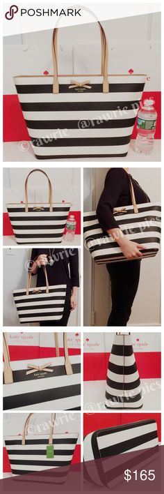 "New Kate Spade large striped Margareta tote 100% authentic. Black and cream white printed cross hatched canvas with matching leather trim. Zip top closure and fabric lining. Inside zip and slip pockets. Handles drop 9"". Measures 19""top/12.5""bottom x 11.5"" (H) x 6"" (W). Brand new with tags. Comes from a pet and smoke free home. kate spade Bags Totes"