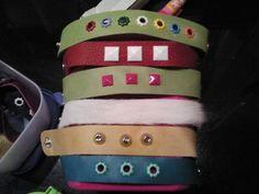 Leather bracelets with studs