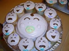 Baby shower cake and cupcakes - cute idea