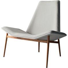 Kent Lounge Chair Raw Linen/White/Teak