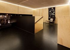 Black floor extends up the wall. Ply walls and ceiling.