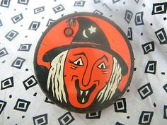 Vintage Halloween Noisemaker ~ Kirchhof Tin w/ Wood Handle Ratchet w/ Witch