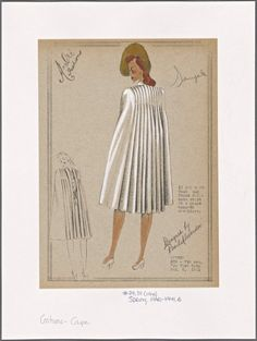 Cape with long, full pleats falling from shoulders to hem.] From New York Public Library Digital Collections.