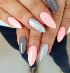 79 Summer Nail Color Designs For Acrylic Glitter Gel Nails Summer nail designs can boost your mood instantly. Just check them out and you'll agree! Pink Gel Nails, Gel Nail Colors, Purple Nails, Diy Nails, Gel Color, Stiletto Nails, Acrylic Nails, Nail Colour, Glitter Nails
