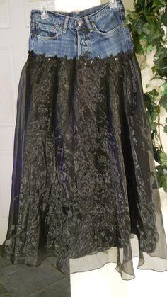 jean skirt black satin tulle vintage lace