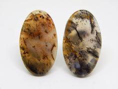 40 x 23 mm, 38 x 23 mm Agata dendritica coppia. Agata dendritica orecchini. Set for earrings. Set cabochon. Earrings cabochon di HELGASHOP su Etsy