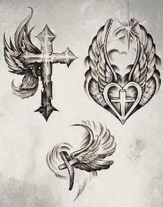 Tatuajes de cruces, rosarios y frases de fe