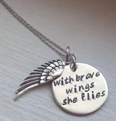Hand Stamped Personalized Necklace, With Brave Wings She Flies, Sterling Silver Angel Wing Inspirational Gift for Her Girls Jewelry, Diy Jewelry, Jewelery, Gift Quotes, Hand Stamped Jewelry, Personalized Necklace, Looks Cool, Inspirational Gifts, Metal Stamping