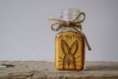 Spring Decor~ Hand Painted Glass Bottle~ Spring Bunny
