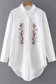 Floral Embroidered Turn-Down Collar Long Sleeve Shirt WHITE: Blouses | ZAFUL