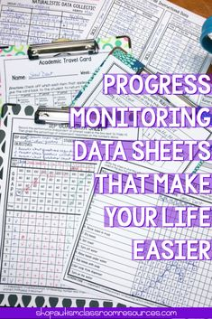 Progress Monitoring Data Sheets That Make Your Life Easier Progress monitoring data collection while running a special education classroom can be tough! But it doesn't have to be so hard. There are easy ways to take data and keep track of progress of you Student Data Binders, Student Goals, Data Collection Sheets, Teaching Special Education, Art Education, Special Education Progress Monitoring, French Education, Continuing Education, Higher Education