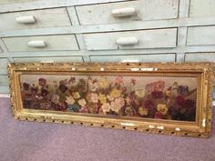 Yard Long Antique Victorian Pansy Floral Oil Painting - $175: