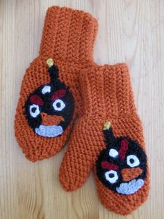 Crocheted Angry Bird mittens, by KateWares.