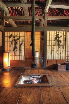 Mountain Lodge Chiiori's traditional floor hearth, Iya Valley, Tokushima Japan
