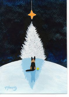 German Shepherd Dog original folk art painting by Todd Young 5x7 or BEST OFFER