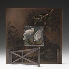 Marilyn da Silva, 'Through My Window III' Brooch in sterling silver, copper, colored pencil, and gesso. Display for brooch in sterling silver, copper, colored pencil, gesso and printer's ink.