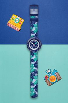 A leafy print design makes this washable blue watch for kids a great nature-themed gift, while the solid plastic case and rotating bezel are dynamic touches to make telling the time easy. RELEAF (ZFPSP041) is built with Swiss precision, and the textile strap is machine washable at 40°C so it stays looking fresh at all times. Telling Time, Plastic Case, Swatch, Bracelet Watch, Print Design, Fresh, Times, Easy, Nature