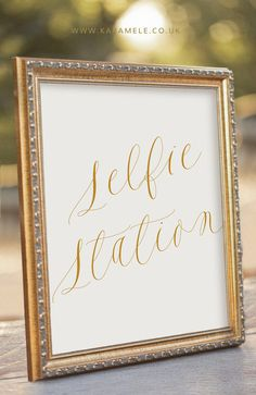 Gold Selfie Station Photo Booth Wedding Sign / Selfie #selfie #selfiestation
