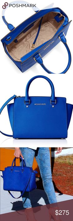 """MICHAEL Michael Kors - Electric Blue. LIKE NEW!!! MICHAEL Michael Kors """"Selma"""" bag in saffiano leather. Golden hardware. Adjustable shoulder strap, 19.5"""" drop. Tote handles, 4"""" drop. Top zip. Inside, monogram lining; one zip and two open pockets. 9""""H x 14""""W x 6""""D. LIKE NEW, WORN MINIMALLY. Michael Kors Bags Satchels"""