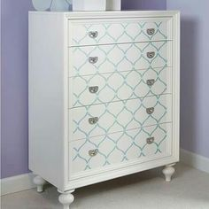 LuxTouch Vintage Furniture & Decor ~ With Louise May Heath... Stenciled 5 drawer chest..