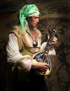 GYPSY-SERENADE-HANDSOME-GYPSY-MALE-WITH-LUTE-12-polymer-OOAK-by-Patricia-Rose