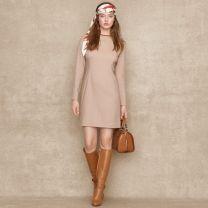 Ralph Lauren Blue Label Suede-Trimmed Wool Dress