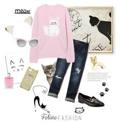 """""""Meow"""" by rever-de-paris ❤ liked on Polyvore featuring Kate Spade, Charlotte Russe, Hollister Co., Casetify, Fendi, Boucheron, WALL and Lancôme"""