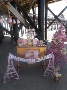 Yummy treats at a Pink Paris Christmas party!  See more party ideas at CatchMyParty.com!  #partyideas #christmas