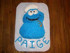 Cookie Monster with Chef's Hat and Chocolate Chip Cookie Cake