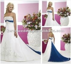 Embroidered White and Blue Wedding Dress