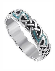Amazon.com: Sterling Silver Turqouise Inlay Celtic Southwestern 6mm Band Ring Size 9: Jewelry