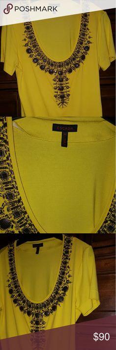 Escada top Deep Escada neckline,  with metal embroidery, Escada Tops Blouses