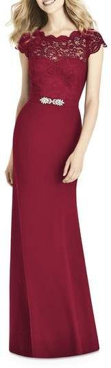 Jenny Packham Lace & Crepe Sheath Gown #gowns
