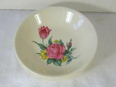 Vintage Pink Rose Fruit Bowls Set/3 Roses French Saxon  by LavenderGardenCottag