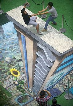 Pavement art in Columbia Street art chalk Amazing 3d Street Art, Amazing Street Art, Street Art Graffiti, Amazing Art, Graffiti Artists, Awesome, Illusion Kunst, Illusion Art, 3d Sidewalk Art