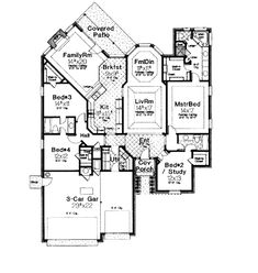 European Traditional House Plan 66047 Level One