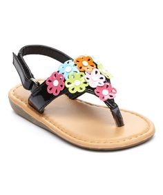 Look what I found on #zulily! Black Floral T-Strap Sandal by Ositos Shoes #zulilyfinds