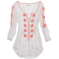 Aerie Embroidered Cover Up ($35) ❤ liked on Polyvore featuring tops, shirts, swimwear, swim, blouses, white and american eagle outfitters