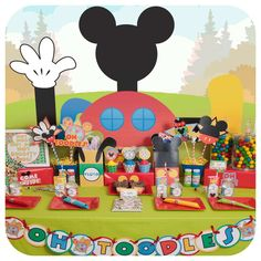 Mickey Mouse Clubhouse birthday party dessert table! See more party ideas at CatchMyParty.com!