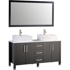 "MTDVanities Aruba 60"" Double Bathroom Vanity Set with Mirror | AllModern"