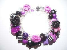 Purple and Black Rose Cabochon Charm Bracelet With Kitschy Charms  Acrylic Bead £10.00