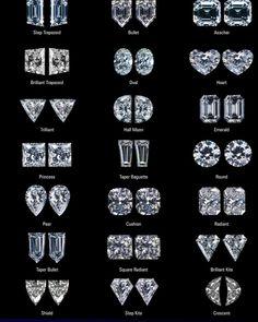 girls need them all Diamond Cut Chart, Diamond Cuts, Diamond Sizes, Diamond Are A Girls Best Friend, Alien Board, Jewelry Rings, Diamond Earrings, Bling, Radiant Cut